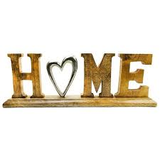 deko schriftzug home aus holz mangoholz alu dekoration home wohnzimmer deko