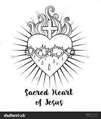 Sacred Heart Of Jesus Vector Illustration Black Isolated On White