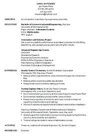 Resume Objective For Manufacturing