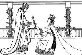 Queen Esther King Xerxes I Colouring Page