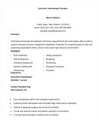 Hospital Housekeeping Resume Skills Cv Template Housekeeper Sample