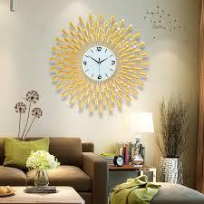 3d wanduhr große wand uhren wohnzimmer 43 stücke diamanten dekorative schmiedeeisen stille moderne design uhr 60 70cm gold