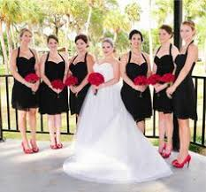 Black Dresses With Red Bouquets