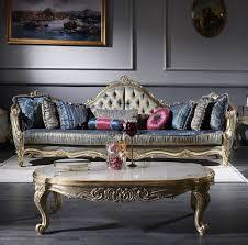 casa padrino luxus barock wohnzimmer set 1 chesterfield sofa dunkelblau antik gold 1 couchtisch weiß antik gold wohnzimmermöbel