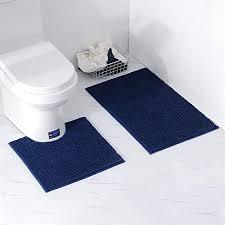 homcomodar badematte rutschfest set 2 stück badematten chenille waschbare badteppich badvorleger für badezimmer dunkelblau