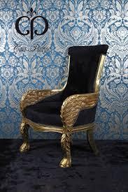casa padrino barock lounge sessel eagle feather schwarz gold möbel antik stil wohnzimmer club möbel sessel thron