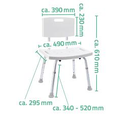 ridder badezimmer stuhl mit rückenlehne höhenverstellbar bis 100 kg weiß