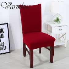 Knit Spandex Fabric Stretch Dining Room Chair Slipcovers Removable Washable Covers Set Of 6 Comwarm