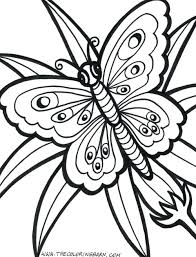 Printable Coloring Pages Butterflies Flowers And Hard Summer Free Large Images Full Size
