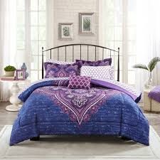 Mainstays Grace Medallion Purple Bed in a Bag plete Bedding Set