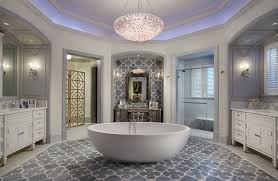 luxury gray and white bathroom design with decorative tray ceiling