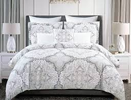 Tahari Bedding Collection by Tahari Home 3pc Full Queen Duvet Cover Set Large Medallion Grey