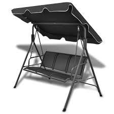 Anself Black Garden Swing Chair