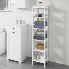 sobuy bzr14 w badregal mit 5 ablagen bad hochschrank standregal küchenregal aufbewahrungsregal weiß