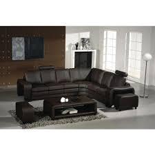 canapé d angle en cuir marron avec têtières relax achat vente