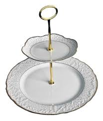 Weatherley Simply Anna Polka Gold 2 Tier Cake Stand