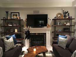 Living Room Rustic Pipe Shelves