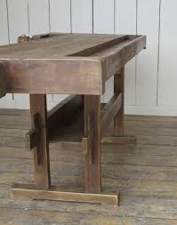 antique woodworking vintage bench with two vices