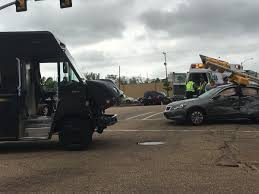 100 Ups Truck Accident Breaking Traffic Light Crushes Car After Crash With Ups Truck