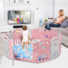 costway 12 paneelen laufgitter laufstall baby absperrgitter aus kunststoff krabbelgitter spielzaun fuer kinder schutzgitter mit musikbox