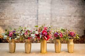 Jewel Tone Floral Arrangements Displayed In Gold Vases Venue Stockroom At 230 Event Planner