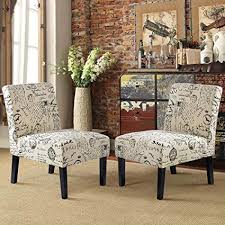 HarperBright Designs Upholstered Accent Chair Armless Living Room Set Of 2 Beige Script