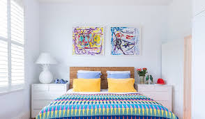 Beautiful Wooden Headboards Vogue Melbourne Eclectic Bedroom Decoration Ideas With Abstract Art Childrens Colour Kids Decor Natural Headboard