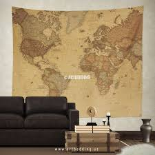 Vintage World Map Wall Tapestry Interior Hanging Old Decor Art Print