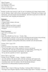 Sample Of Resume For Caregiver