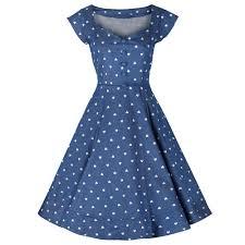 Denim Blue And White Heart Print Sweetheart Neckline 50s Swing Dress