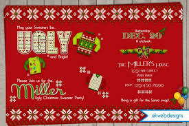 Christmas Ugly Sweater Party Invitations Invitation By Ekwebdesigns