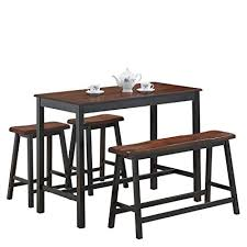 COSTWAY 4PC Counter Height Table Set Simple Dining Modern Style With One Bench And