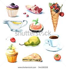 Hand painted watercolor food set Objects isolated on white background sauce sandwich