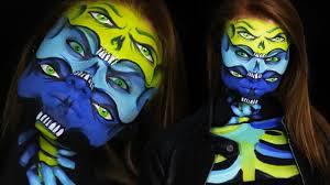trippy six eye skull makeup tutorial