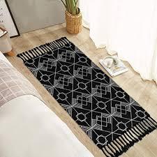 boho badezimmerteppich geometrisch gewebt 60 x 120 cm mit quasten klein böhmische badematte