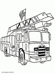 USA Fire Truck Coloring Page