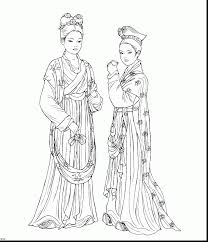 Impressive Chinese Clothing Coloring Pages With Dress