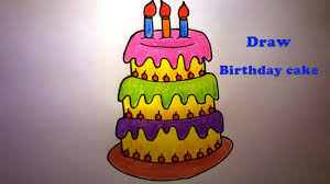 How to draw a birthday cake How to draw and color birthday cake for kids Birthday cake 1624