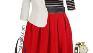 Plus Size Red Skirt Outfits