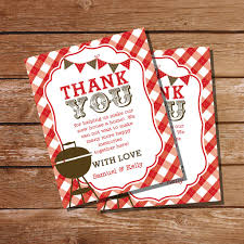 Housewarming Red Gingham BBQ Grill Party Thank You Card