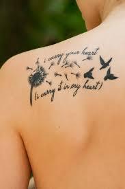 Beautiful Dandelion Birds Love Tattoo Quote On Upper Back