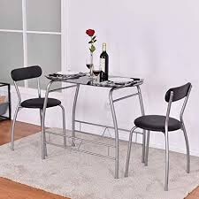 3 Piece Black Gray Metal Glass Small Space Dining Set Table Chairs Modern