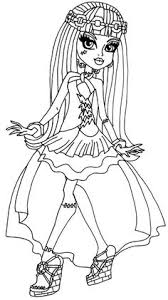 A Coloring Page Of Frankie In Her 13 Wishes Outfit From Monster High