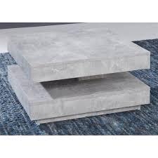 couchtisch in design grau universal quadratisch wohnzimmertisch drehbar mit ablage 70 x 70 cm betonoptik