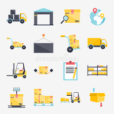Download Set Of Flat Warehouse Icons Logistic Blank And Transportation S Stock Vector