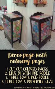 How To Decoupage A Dresser With Colored Pages Things Do When You Finish