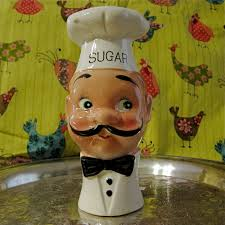 Fat Chef Man Kitchen Decor by Ceramic Sugar Dispenser Chef Vintage Sugar Bowl Substitute French