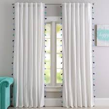 Gray Ruffle Blackout Curtains by Green White Tassel Blackout Drape