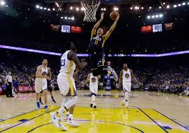 Utah Jazz Guard Dante Exum 11 Scores Over Golden State Warriors Forward Draymond Green