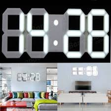 3D Acrylic White Large Digital LED Skeleton Wall Clock Timer 24 12 Hour Display